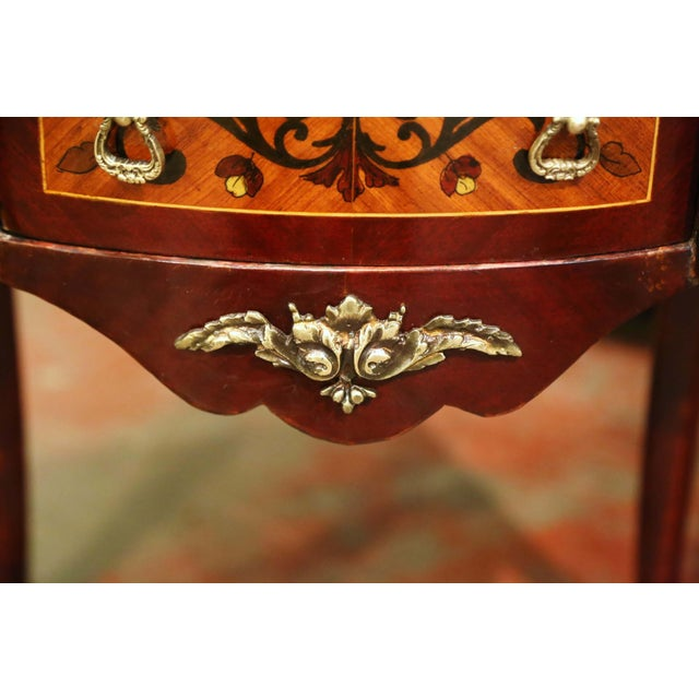 Metal 20th Century French Louis XV Walnut Commode Chest of Drawers With Marble Top For Sale - Image 7 of 13
