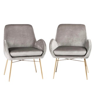 New Modern Gray Velvet Armchair With Gold Legs and Pillows - a Pair For Sale