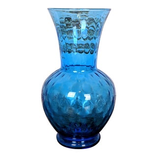 Vintage Rossini Empoli Blue Glass Vase For Sale