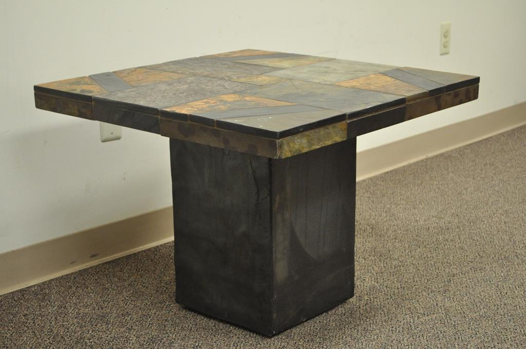 Contemporary South African Slate Inlaid Square Lamp Side End Table Decorator  For Sale   Image 5