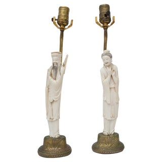Antique Qing Chinese Carved Bone Figural Lamps - a Pair For Sale
