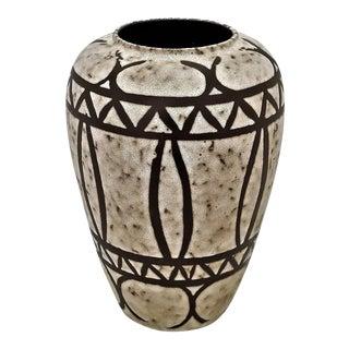 Huge Scheurich German Ceramic Fat Lava Glaze Art Pottery Floor Vase - 1970s - Mid Century Modern Art Deco Geometric For Sale