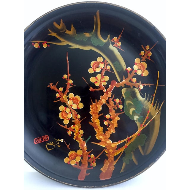 Vintage Mid Century Japan Hand Painted Flower Branch Blossoms Large Round Lacquer Tray Platter For Sale - Image 9 of 13