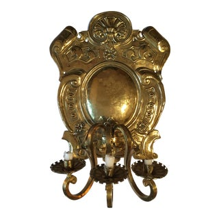19th Century Baroque Style Large Brass Three-Light Swedish Wall Sconce For Sale