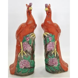 Large Chinese Ceramic Phoenix Sculpture Figurines - a Pair - Feng Shui - Asian Palm Beach Boho Chic Animals Birds Tropical Coastal Preview