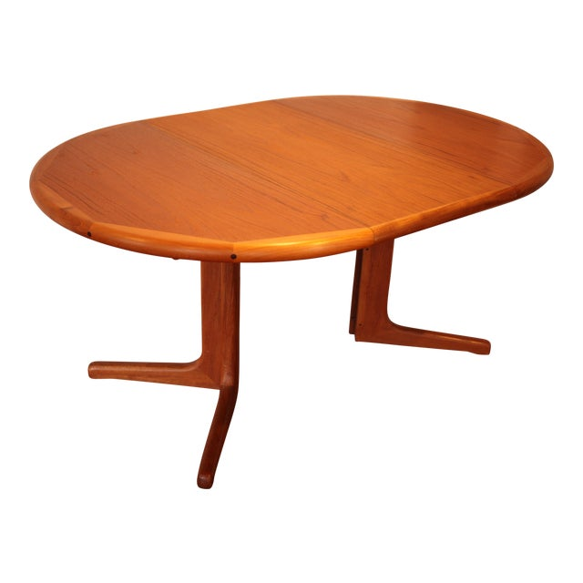 Solid Teak Round to Oval Dining Table - Image 1 of 10