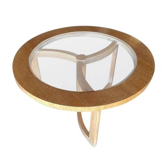 Round Scandinavian Spindle Coffee Table in Oak With Glass Top For Sale