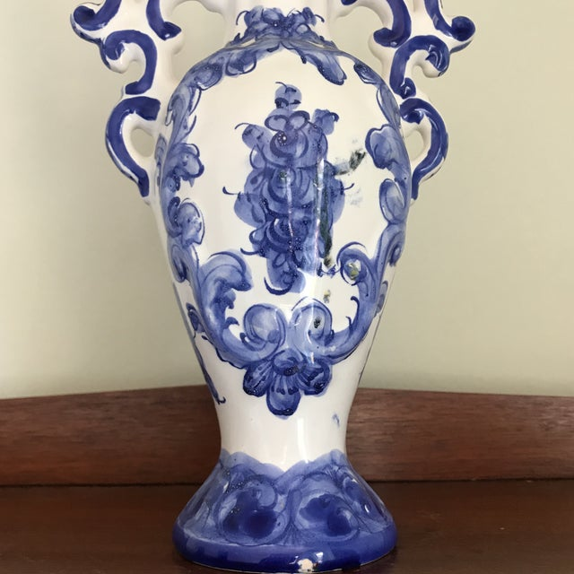 Ceramic 1970s Portuguese Blue White Ceramic Vases - a Pair For Sale - Image 7 of 8