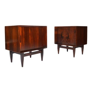 Arne Wahl Iversen Brazilian Rosewood Nightstands Having Tambour Doors For Sale