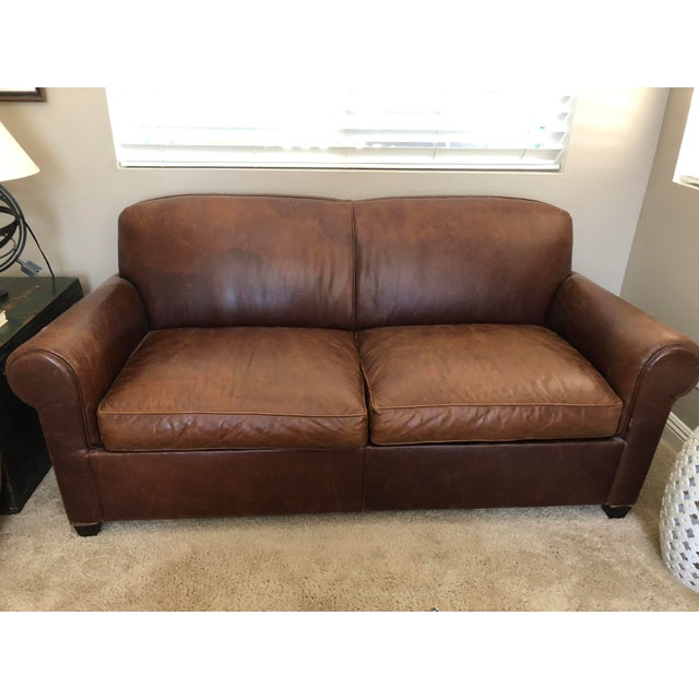 Crate & Barrel Leather Club Sleeper Sofa For Sale - Image 11 of 11