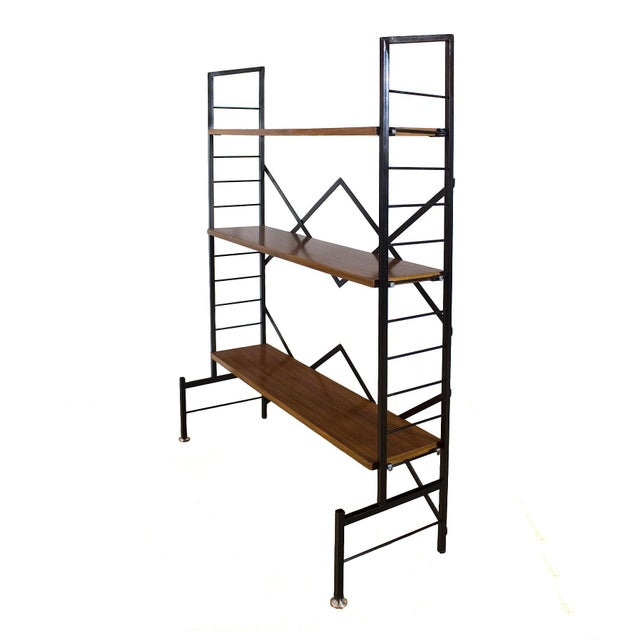 Mid-Century Modern 1950s Pair of Small Bookcases, Blackened Steel, Mahogany Shelves, Brass, Italy For Sale - Image 3 of 9