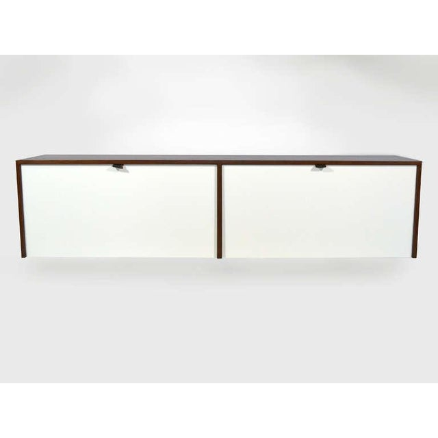 Pair of Florence Knoll Walnut Wall Mounted Credenzas or Cabinets For Sale In Chicago - Image 6 of 10