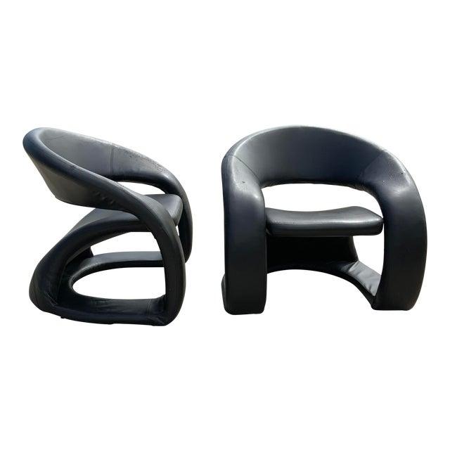 1990s Vintage Sculptural Sinuous Cantilever Chairs - A Pair For Sale