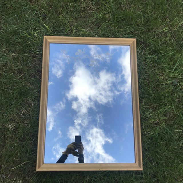 1950s Gilded Etched Glass Mirror. Must See! Mid Century Branches Etching. For Sale - Image 9 of 9