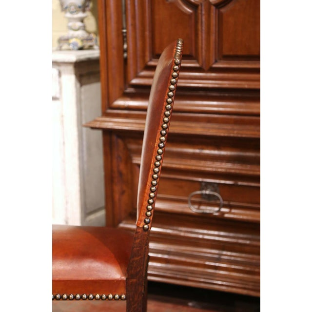 Burnt Orange 19th Century French Carved Oak and Tan Leather Dining Chairs - Set of Six For Sale - Image 8 of 13
