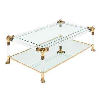 Vintage Lucite and Brass Coffee Table by Raphael For Sale