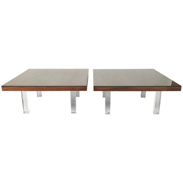 1967 Milo Baughman Rosewood and Lucite Coffee Tables - a Pair For Sale - Image 10 of 10