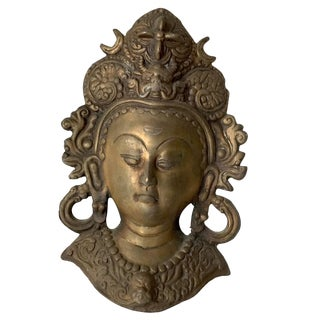 Vintage Indian Bronze Head of Hindu God with Headdress Wall Sculpture For Sale