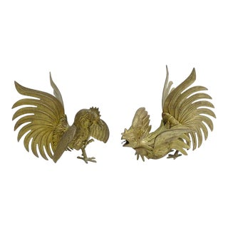 Vintage Brass Roosters Fighting Cocks Figurines Statues - a Pair For Sale