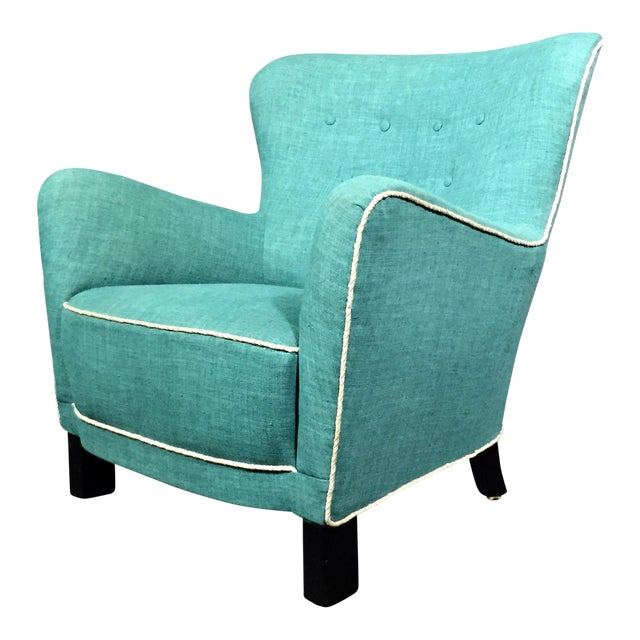 Late 1930s Danish Buttoned Armchair With Turquoise Upholstery For Sale