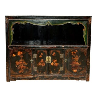 Antique Painted Pomegranate Open Light Chest For Sale