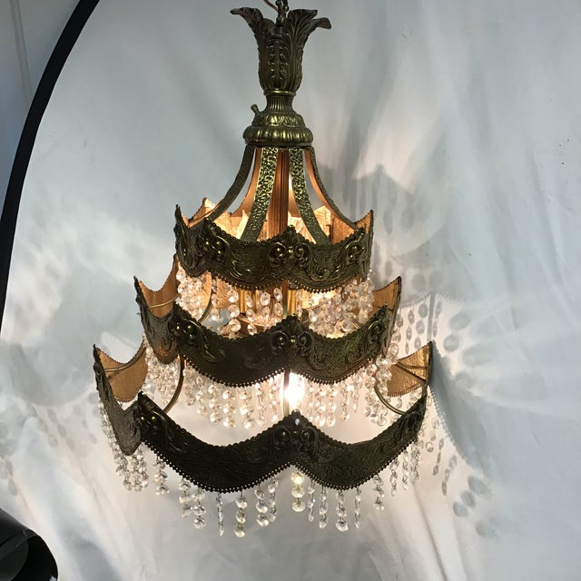 French Gold Tier Swag Lamp Chandelier For Sale - Image 4 of 12