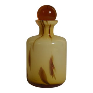 Modern Art Glass Gold Flecks Decanter with Amber Stopper For Sale
