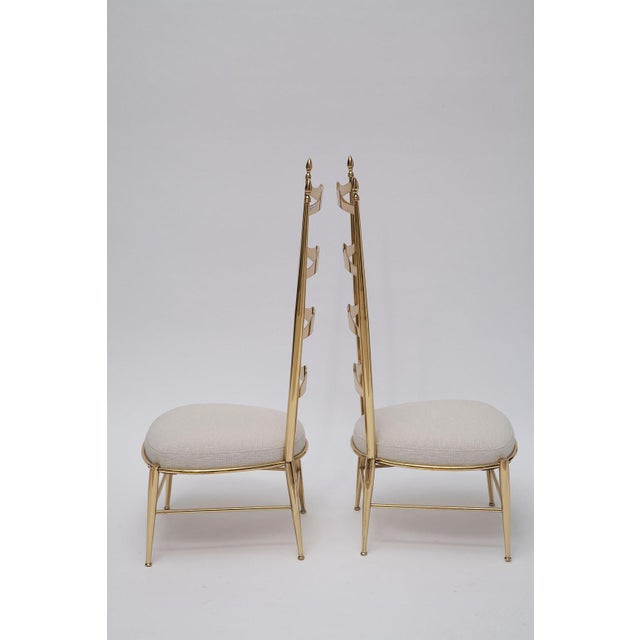 1950s Rare Tall Back Brass Chiavari Chairs With Truncated Legs For Sale - Image 5 of 11