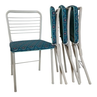 Vintage Reupholstered Metal Folding Chairs - Set of 4