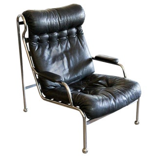 High Back Black Leather & Chrome Lounge Chair Attributed to Arne Norell C. 1970 For Sale