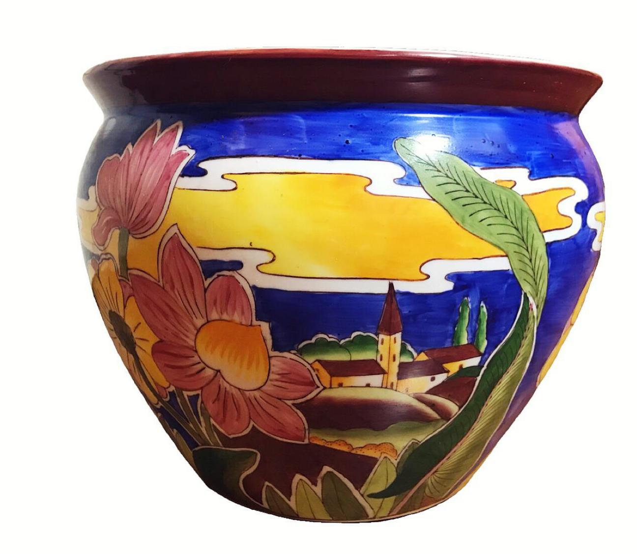 Porcelain Chinese Fish Bowl Planter Chairish