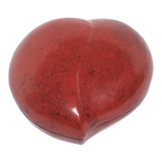 19th Century Chinese Red Lacquer Peach Form Presentation Box For Sale