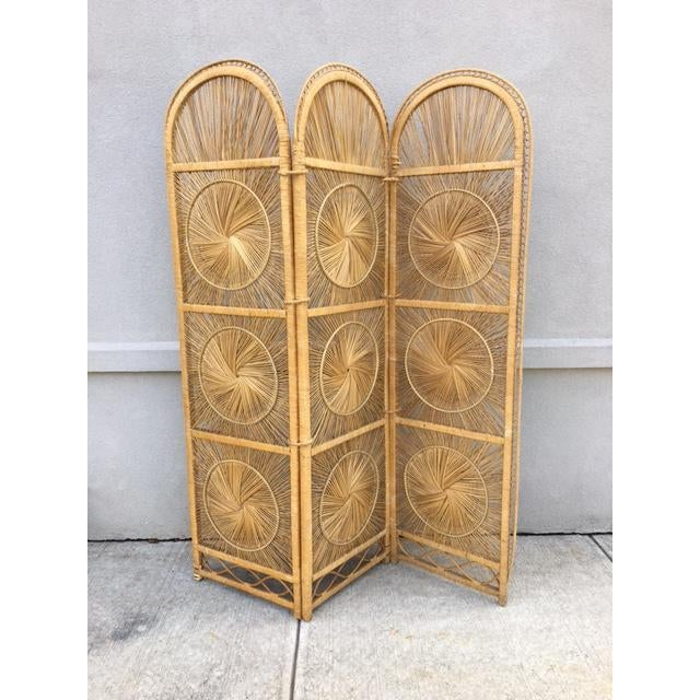 Boho Chic Rattan Tri-Fold Screen For Sale In New York - Image 6 of 6
