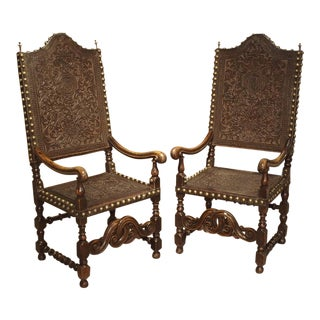 Pair of Large 17th Century Tooled Leather and Oak Armchairs From Spain For Sale