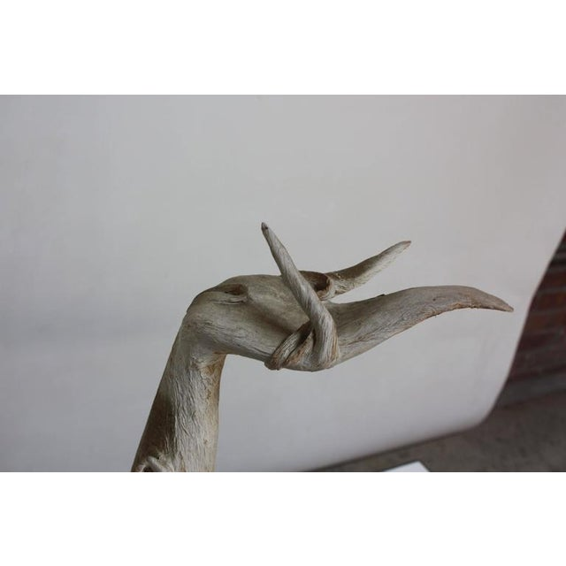 White Petrified and Painted Tree Branch 'Hand' Sculpture on Board For Sale - Image 8 of 9