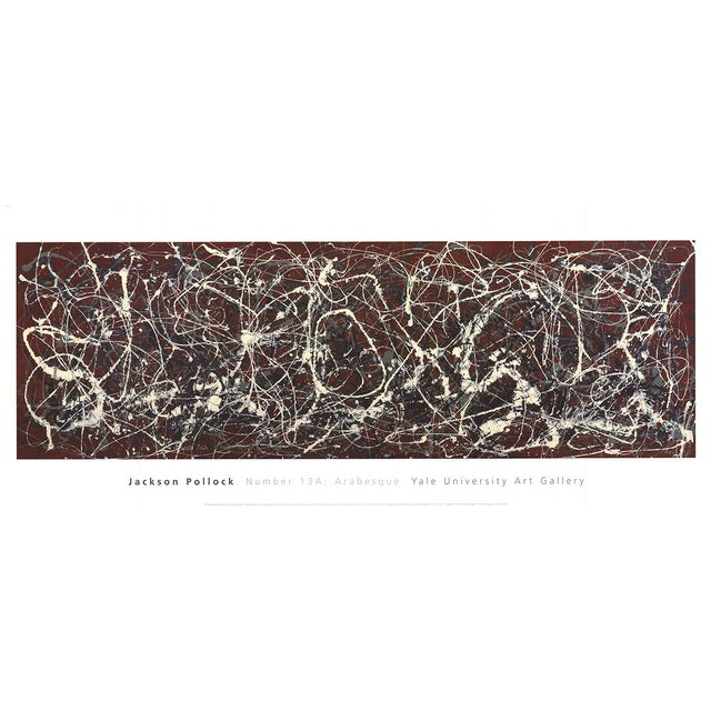 """Abstract Jackson Pollock Number 13a: Arabesque 16"""" X 37.75"""" Poster 2007 Abstract Red, White Splatter, Paint For Sale - Image 3 of 3"""