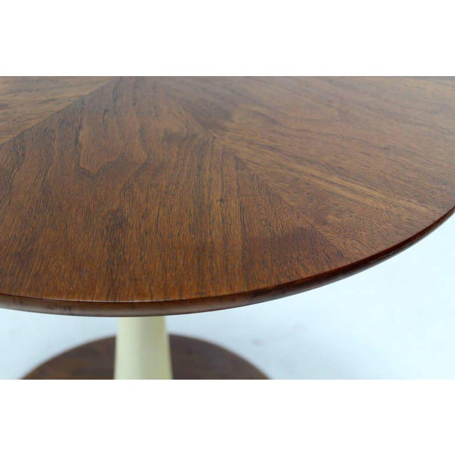 Mid-Century Modern Solid Walnut Weighted Base Round Side Table - Image 8 of 10