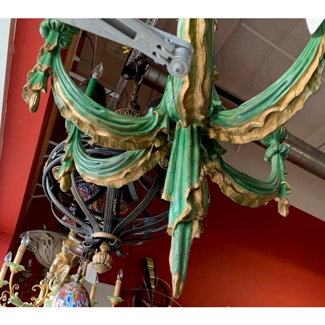 Mid 20th Century Vintage Italian Chandelier Hand Carved Wood For Sale - Image 9 of 10