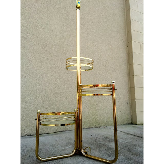 Mid-Century 3-Shelf Brass Floor Lamp - Image 7 of 9