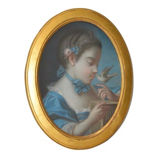 Elegant 19th Century Pastel Portrait of a Young Girl W/ a Dove