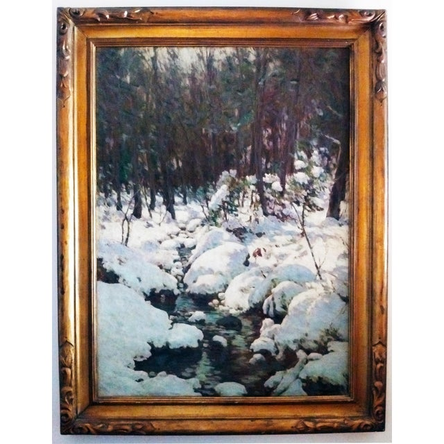 """American Impressionist Painting """"The Woodland Brook"""" by Luther Emerson Van Gorder (1857-1931) For Sale - Image 4 of 7"""