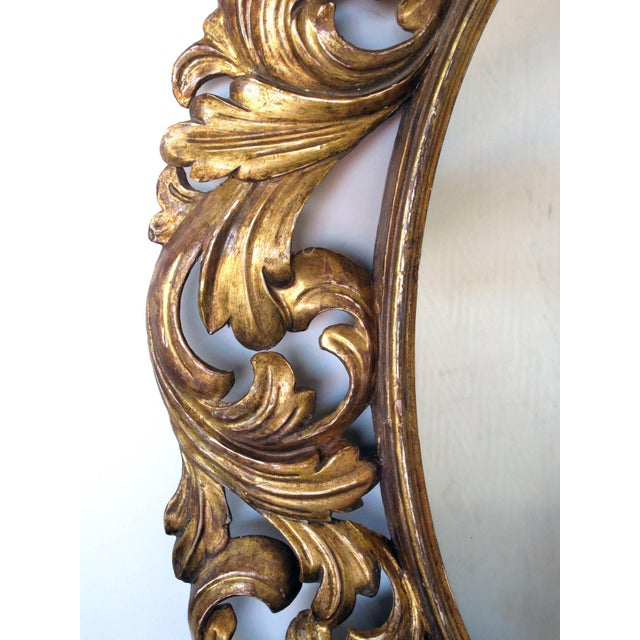 Baroque Well-Carved Italian Baroque Style Oval Giltwood Mirror For Sale - Image 3 of 4