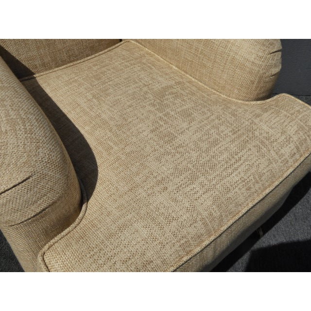 Restoration Hardware Style Beige Linen Blend Accent Chair & Ottoman For Sale - Image 9 of 11