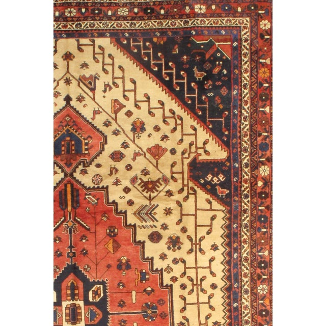 Semi-Antique Persian Shiraz Afshar Lamb's Wool Rug on a cotton foundation. Hand-Spun Wool Rug Vegetable Dyed Mint...