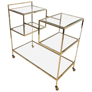 French Brass and Glass Bar Cart For Sale