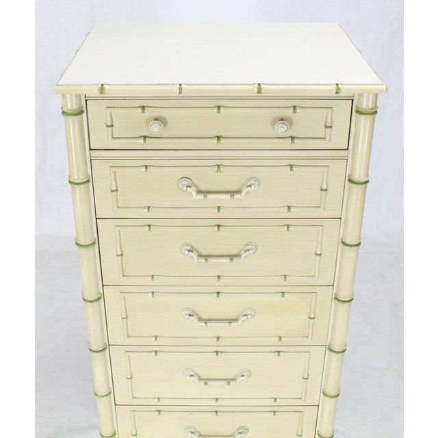 """Off white and green seven drawers 60"""" tall faux bamboo lingirie dresser high chest dresser. Nicely decorated with green..."""