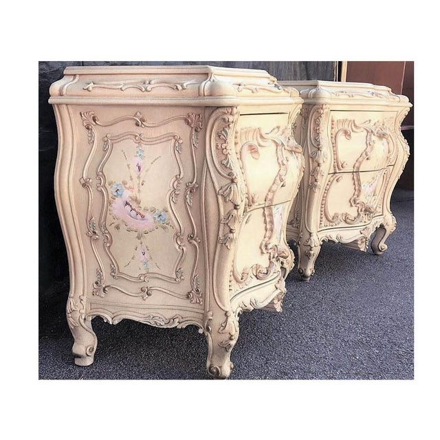 Large Rare Romantic Antique Cream French Rococo Ornate Fancy Bedroom Pair of Nightstands / End Tables For Sale - Image 4 of 6