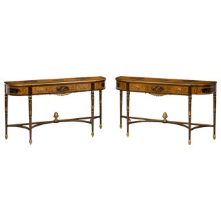 Pair of George III Style Hand Painted Satinwood Consoles For Sale