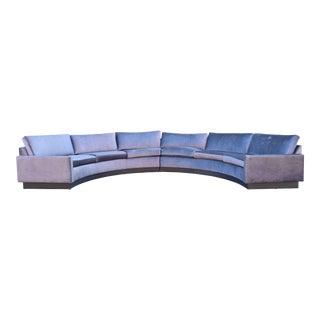 Milo Baughman Style Circular Sofa in Gray Velvet For Sale