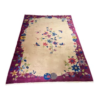 "Bellwether Rugs ""China Girl"" 1930s Art Deco Chinese Rug - 6' X 8'8"" For Sale"